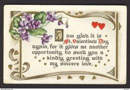 Calligraphy ~ St. VALENTINE'S DAY ~ Art Nouveau African Violet Red & Gold Heart - Fancy Cards