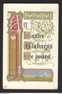 Calligraphy ~ St. VALENTINE'S DAY ~ Art Nouveau ~ African Violet, Red & Gold Hearts, Poem, Embossed - Fancy Cards