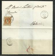 PU-5)1860-1 EDIFIL Nº 52 R.C.25 CUENCA  SOBRE FRAGMENTO DE CARTA A VALENCIA(CAT.EDIFIL 2005,35,50€) LA DE LA FOTO - 1850-68 Royaume: Isabelle II