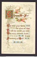 Calligraphy ~ HAPPY NEW YEAR ~ Art Nouveau Gold Decorated Poem, Pink Flowers - Fancy Cards