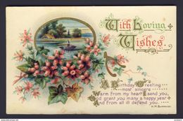Calligraphy ~ With Loving Wishes ~ A Birthday Greeting ~ Wishbone, Scene, Pink Flowers ~ H.M. Burnside  Postcard - Fancy Cards