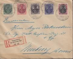 DR ALLENSTEIN 15-17, 19, 21, MiF FDC, Auf R-Brief Mit Stempel: Tannenberg 1.5.1920 - Allemagne