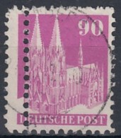 BiZone 96 III WB, Verzähnt, Gestempelt, Doppelzähnung, Bauten 1948 - Bizone