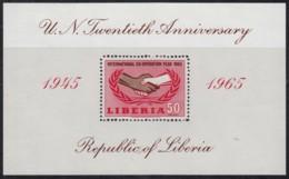 LIBERIA, Block 34, Postfrisch **, 20 Jahre Vereinte Nationen (UNO) 1965 - Liberia