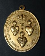 """Magnifique Médaillon Pendentif Médaille Religieuse Début XIXe """"Sainte Marie / Saints Coeurs De Jésus, Marie Et Joseph"""" - Religion & Esotérisme"""