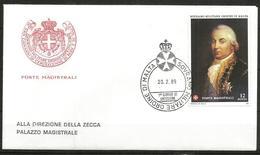 1989 ORDINE DI MALTA SMOM    Fdc Viaggiata Bellissima - Malte (Ordre De)
