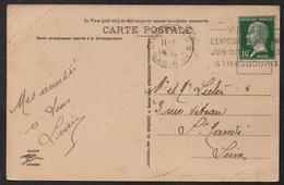 """LOUIS PASTEUR - STRASBOURG / 1923 OB. UNIVERSAL FRANCISEE """"EXPOSITION PASTEUR"""" SUR CARTE (ref LE2668) - Louis Pasteur"""