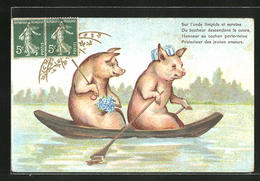 Lithographie Zwei Schweine Im Ruderboot - Cochons