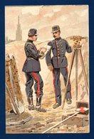 Officiers Du Génie Belge Effectuant Un Relevé Topographique. Illustration Louis Geens. Pub TALPE Chicorée. Ca 1900 - Régiments
