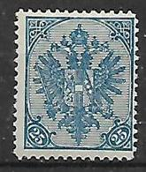 BOSNIA EZERGOVINA  1900-01 STEMMA NUOVO RIQUADRO CIFRE IN BASSO DENT.12 E 1/2 UNIF.17B MLH VF - Bosnia Erzegovina