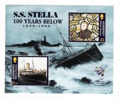 ALDERNEY, BAILIWICK OF GUERNSEY  /  S.S.  STELLA , 100  YEARS  BELOW , 1899 - 1999  /  Faciale : 2 £ 00 - Alderney