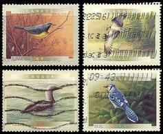 Canada (Scott No.1839-42 - Oiseaux Du Canada / Canadian Birds) (o) Autocollant / Self Adhesive From Booklet - 1952-.... Règne D'Elizabeth II