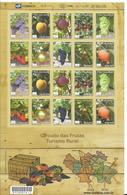 BRAZIL 2009, FRUITS  EXPORTS MAPS  RURAL TOURISM FULL SHEET OF 20 VALUES SCOTT 3089 - Unused Stamps