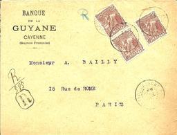 Lettre Recommandée  De La Banque De GUYANE Avec N° 55 X 3  Obl.CAYENNE -1932 - - Guyane Française (1886-1949)