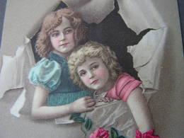 Kinder Mit Rosen , Namenstag Feldpost Nach Aschaffenburg 1917 - Gruppen Von Kindern Und Familien