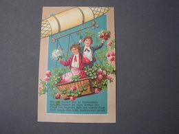 Kinder Im Zeppelin Und Mit Rosen , Poesie  Nach Aschaffenburg 1912 - Gruppen Von Kindern Und Familien