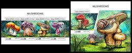 MALDIVES 2018 - Mushrooms, Snails. M/S + S/S Official Issue - Schelpen