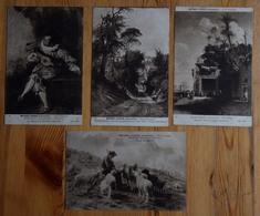 60 : Chantilly - Musée Condé - 4 CPA : Tableaux - Ecole Française : Watteau - Bonheur - Roqueplan - Marilhat - (n°15634) - Paintings