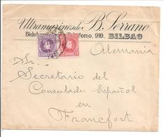 Alfonso XIII Cadete. 10c + 15c. Lettre Publicidad Bilbao>Allemagne - 1889-1931 Reino: Alfonso XIII