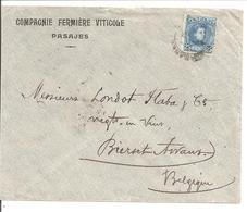 Alfonso XIII Cadete.25c Seul. Lettre Publicidad Fermière Viticole PASAJES>Belgique Bierset-Awans - 1889-1931 Reino: Alfonso XIII