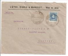 Alfonso XIII Cadete.25c Seul. Lettre Publicidad Vins En Gros Villafranca Del Panades>Belgique Bierset-Awans - 1889-1931 Reino: Alfonso XIII