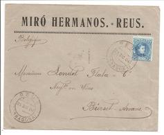 Alfonso XIII Cadete.25c Seul. Lettre Publicidad Miró Hermanos.Reus>Belgique Bierset-Awans - 1889-1931 Reino: Alfonso XIII