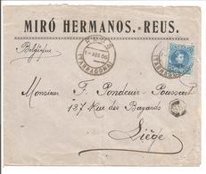 Alfonso XIII Cadete.25c Seul. Lettre Publicidad Miró Hermanos.Reus>Belgique Liege - 1889-1931 Reino: Alfonso XIII
