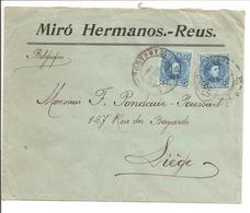 Alfonso XIII Cadete.25c Doble Tasa. Lettre Publicidad Miró Hermanos.Reus>Belgique Liege - 1889-1931 Reino: Alfonso XIII