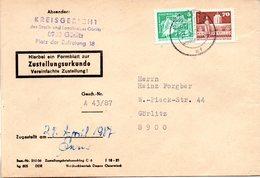 """(FC-9) DDR Dienstpost, Zustellungsurkunde, """"Kreisgericht Görlitz"""" MiF Mi 2483+2602 TSt 27.4.1987 GÖRLITZ 1 - Service"""