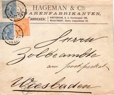 Brief Met Firmalogo Met NVPH34 En 2x NVPH35 Van Amsterdam Naar Wiesbaden - Periode 1891-1948 (Wilhelmina)