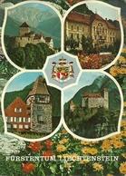 Vaduz (Liechtenstein) Views: Schloss Vaduz, Regierungsgebaude, Rotes Haus, Schloss Gutenberg - Liechtenstein
