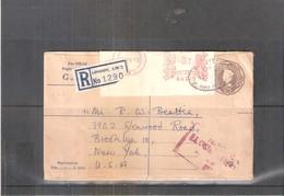 Ancien Entier Postal Envoyé En Recommandé De Londres à New-York En 1960 (a Voir Recto-verso) - Lettres & Documents