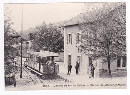 CPM TRAIN Zug VOIR DOS 74 Vers Annemasse Monnetier Mairie Automotrice 4 & Wagonnet Citerne Vers 1905 PUB Pastilles Vichy - Annemasse