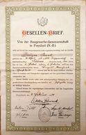 AD067 - Alter Gesellenbrief Baugewerbe-Genossenschaft Poysdorf Niederösterreich, 1934 - Diplome Und Schulzeugnisse