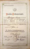 AD068 - Altes Gesellen-Prüfungszeugnis Baugewerbe-Genossenschaft Poysdorf Niederösterreich 1934 - Diplome Und Schulzeugnisse