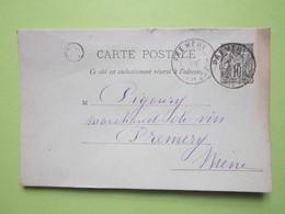 Carte Postale écrite à CHAMPLIN 1898 Oblitérée PREMERY (58) - Entier Type Sage Noir 10c - Entiers Postaux
