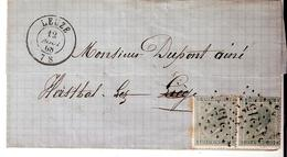 L. TP. N° 17(2) Los.Pts 215/LEUZE  Du 12/8/1868 Vers HERSTAL. - 1865-1866 Profil Gauche