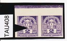 TAU408 ÖSTERREICH 1920 Michl 293 PLATTENFEHLER HALSSTRICH Unten UNTERBROCHEN ** Postfrisch - Abarten & Kuriositäten