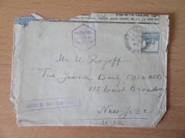 "Palestine Vers Etats-Unis (New-York) - Enveloppe Avec Cachet ""Passed By Censor (censure)"" + Timbre YT N°73 - Cachet 1940 - Palestine"