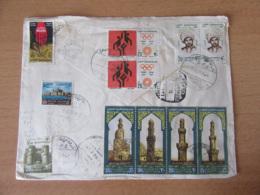 Egypte Vers Espagne - Gros Afranchissement Sur Enveloppe Avec Cachets 1973 Dont Bande Journée De La Poste - Égypte