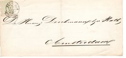 31 DEC 1870  Omslag  Van Amsterdam Franco-takje  Lokaal Met NVPH 15 - Storia Postale