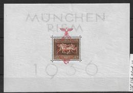DSP136/  DRITTES REICH - Block 10, Braunes Band, München Riem Postfrisch ** (Pferde) MNH - Blocks & Kleinbögen