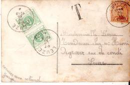 """CP. TP. 135 LEUZE  Taxée TTx. 3 A Avec Petite Griffe Et Cad LEUZE (de L""""émission De 1895!!!) COB 100€ RARE. - Portomarken"""
