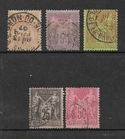 France Type Sage De 1881/90 N°94 A 98 (1 Dent Courte Sur Le N°95)  Cote 106€ - 1876-1898 Sage (Tipo II)