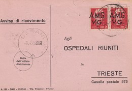 Trieste 1947 Postal Receipt Sent From Trieste (AMG VG, Zone A) To Zone B DEKANI  Postmark - Jugoslawische Bes.: Istrien