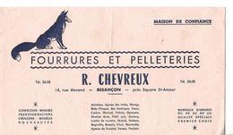 Buvard Fourrures Pelleteries R. CHEVREUX 25 BESANCON - Textile & Vestimentaire