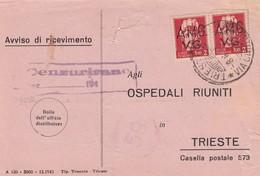 Trieste 1946 Postal Receipt Sent From Trieste (AMG VG, Zone A) To Zone B  Rare Postmark ŠMARJE PRI KOPRU, Censored - Jugoslawische Bes.: Istrien