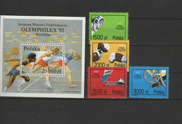 Poland 1992 Olympic Games Barcelona, Fencing, Boxing Etc. Set Of 4 + S/s MNH - Verano 1992: Barcelona
