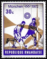 Timbre-poste Gommé Neuf** - Jeux Olympiques De Munich Hockey - N° 486 (Yvert) - République Rwandaise 1972 - Rwanda