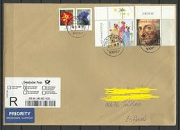 DEUTSCHLAND 2018 R-Brief Nach Estland Blumen 5 EUR Etc Etc O Köln-Buchheim - BRD